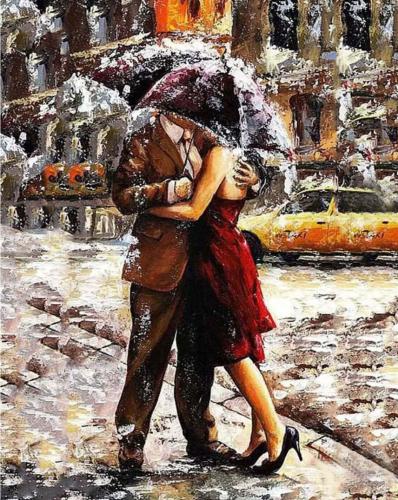 Sarut in ploaie - Picturi pe numere - (40x50)0