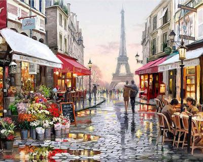 Strada din Paris - Picturi pe numere - (40 x 50 cm)0