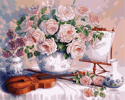Trandafiri si vioara - Picturi pe numere - (40 x 50 cm)0