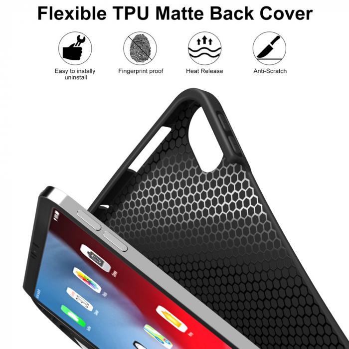 Husa protectie din piele ecologica si gel TPU pentru iPad Pro 11'' (2018), neagra [1]