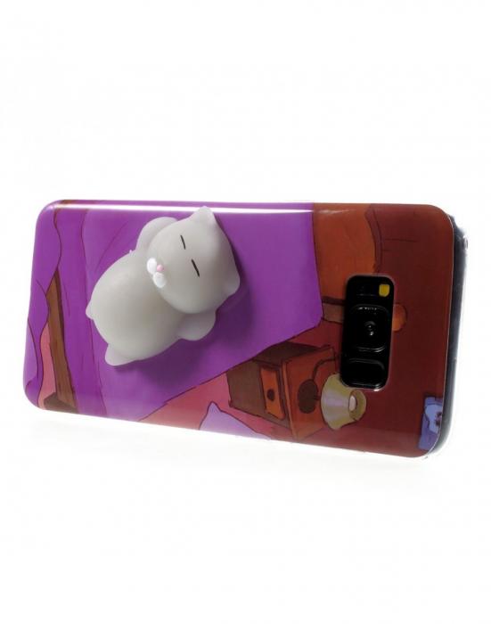 Carcasa protectie spate cu pisica Squishy pentru Samsung Galaxy S8, mov 2