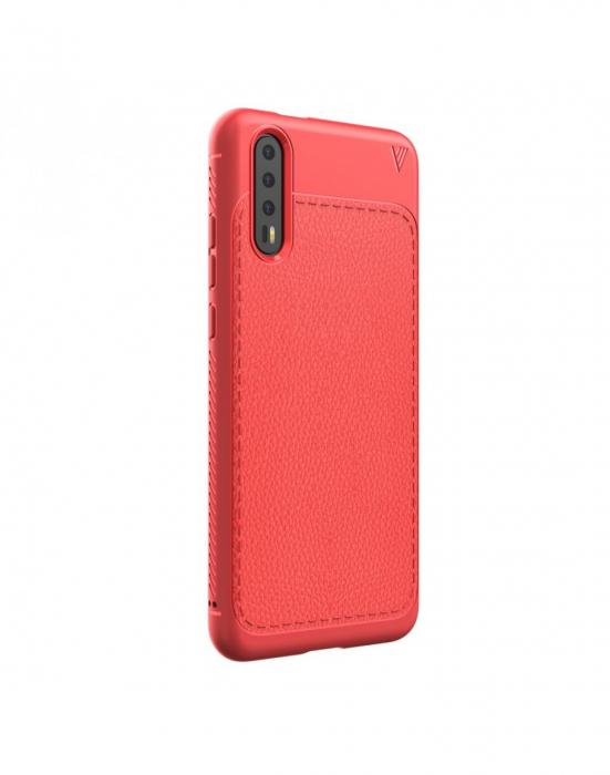 Carcasa protectie spate din piele ecologica si gel TPU pentru Huawei P20, rosie 8
