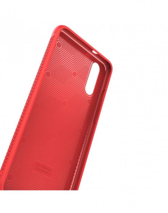 Carcasa protectie spate din piele ecologica si gel TPU pentru Huawei P20, rosie 1