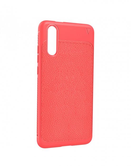 Carcasa protectie spate din piele ecologica si gel TPU pentru Huawei P20, rosie 4