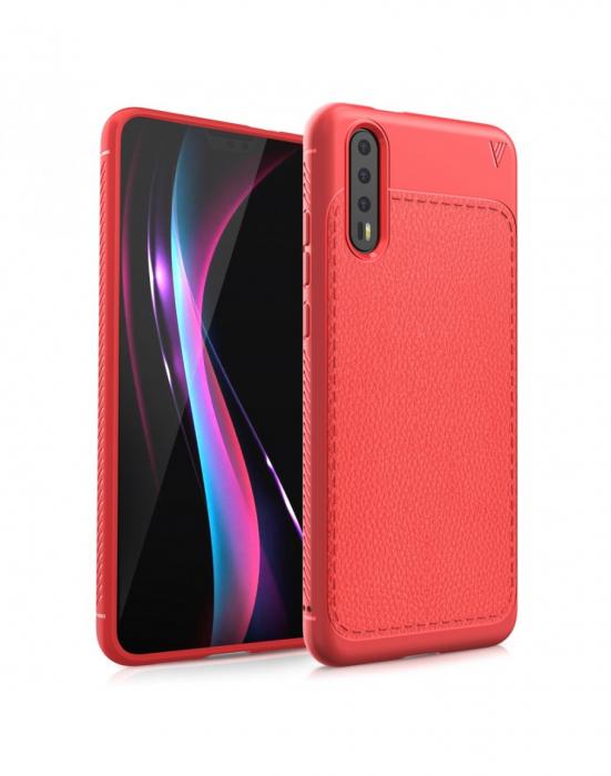 Carcasa protectie spate din piele ecologica si gel TPU pentru Huawei P20, rosie 0