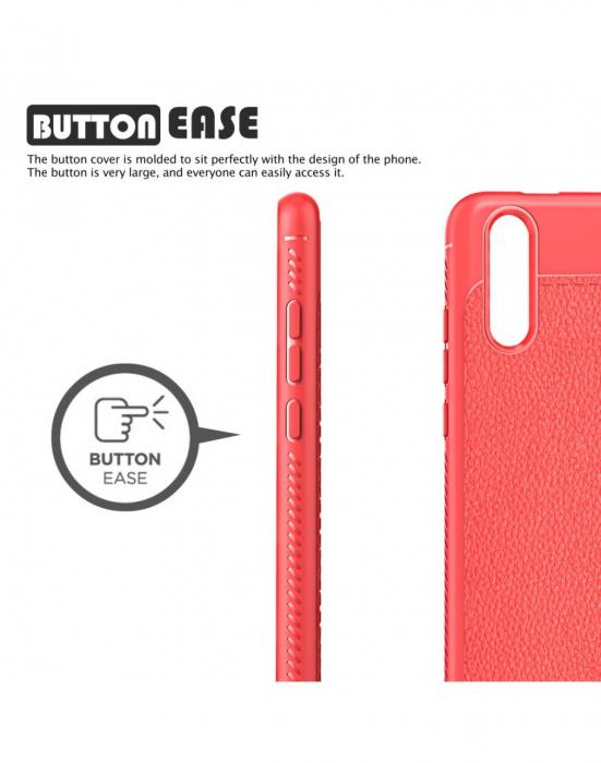 Carcasa protectie spate din piele ecologica si gel TPU pentru Huawei P20, rosie 5