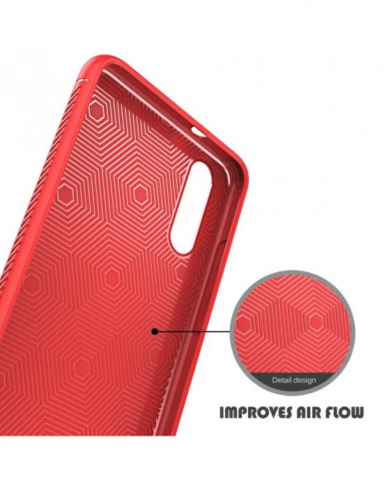 Carcasa protectie spate din piele ecologica si gel TPU pentru Huawei P20, rosie 7