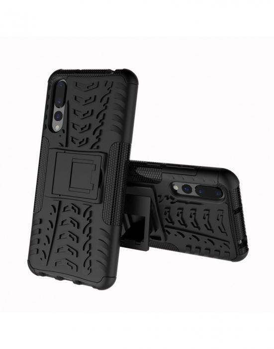 Carcasa protectie spate anti-alunecare pentru Huawei P20 Pro, neagra 0