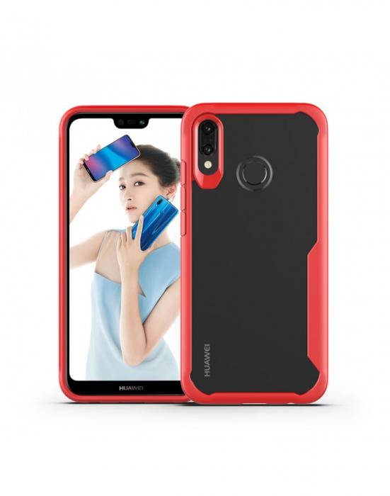 Carcasa protectie spate din plastic si gel TPU pentru Huawei P20 Lite, rosie 0