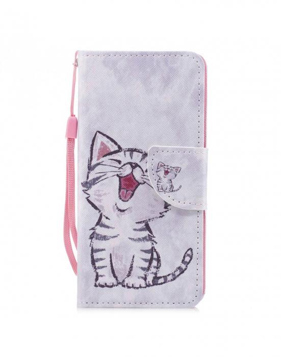 Husa protectie imprimata ,,Pisica'' din piele ecologica pentru Huawei P20 Lite 0