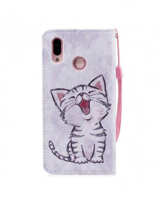 Husa protectie imprimata ,,Pisica'' din piele ecologica pentru Huawei P20 Lite 1