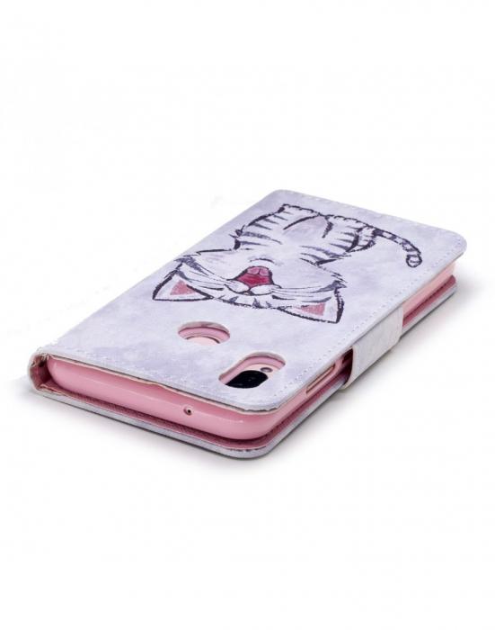 Husa protectie imprimata ,,Pisica'' din piele ecologica pentru Huawei P20 Lite 2
