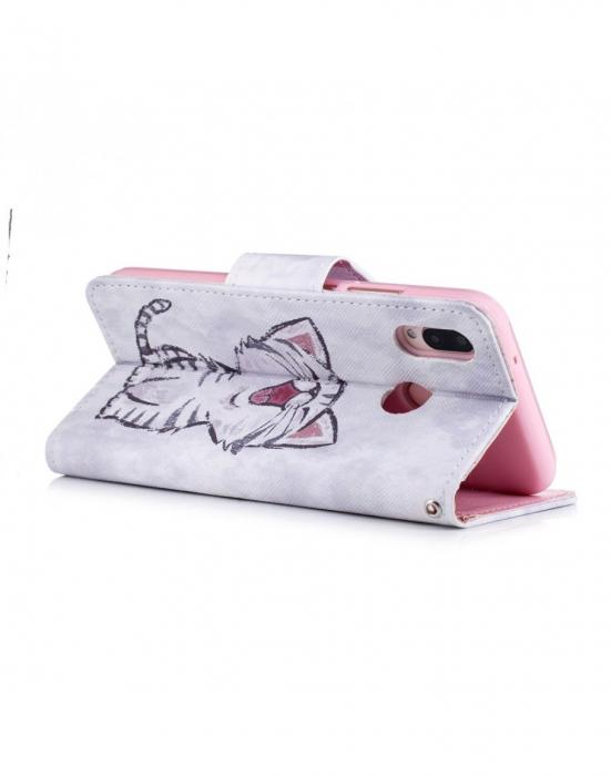 Husa protectie imprimata ,,Pisica'' din piele ecologica pentru Huawei P20 Lite 3