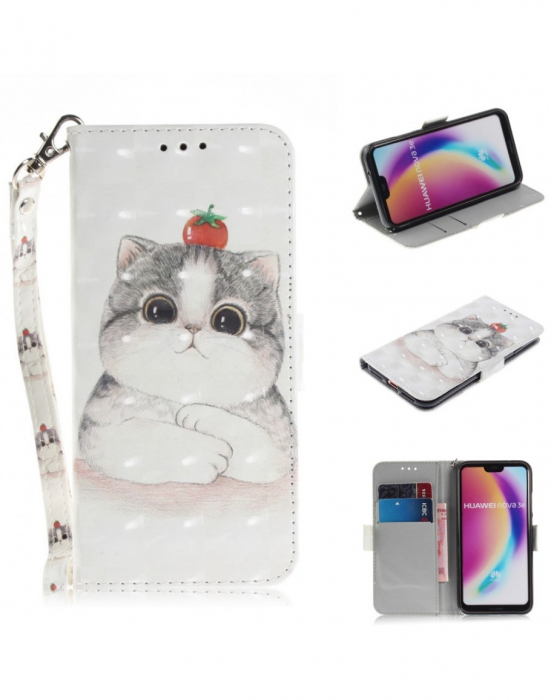 Husa protectie imprimata din piele ecologica pentru Huawei P20 Lite 2