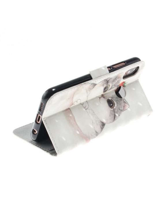 Husa protectie imprimata din piele ecologica pentru Huawei P20 Lite 6