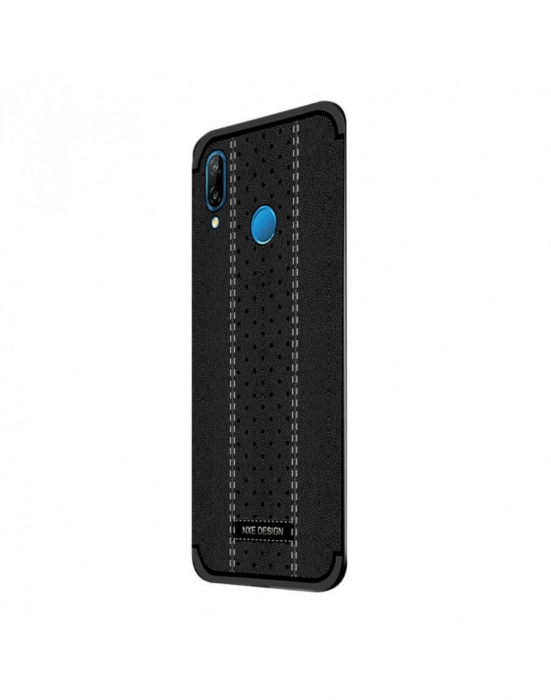 Carcasa protectie spate din piele ecologica si gel TPU pentru Huawei P20 Lite, neagra 1