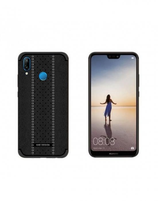 Carcasa protectie spate din piele ecologica si gel TPU pentru Huawei P20 Lite, neagra 0