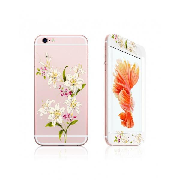 """Pachet sticla securizata fata si spate 0.3 mm imprimata """"Lily"""" pentru iPhone 6s / 6 4.7 inch 0"""