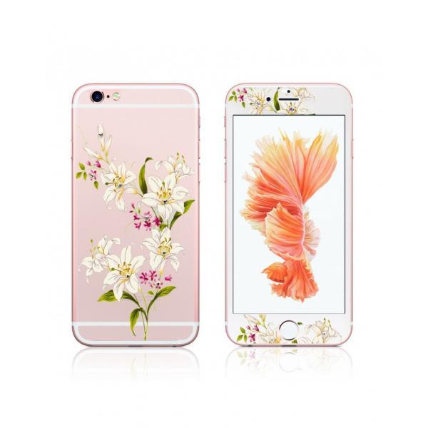 """Pachet sticla securizata fata si spate 0.3 mm imprimata """"Lily"""" pentru iPhone 6s / 6 4.7 inch 1"""