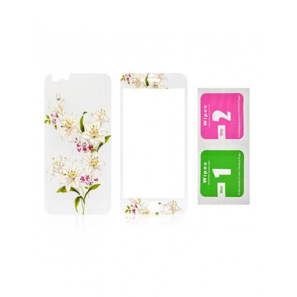"""Pachet sticla securizata fata si spate 0.3 mm imprimata """"Lily"""" pentru iPhone 6s / 6 4.7 inch 2"""