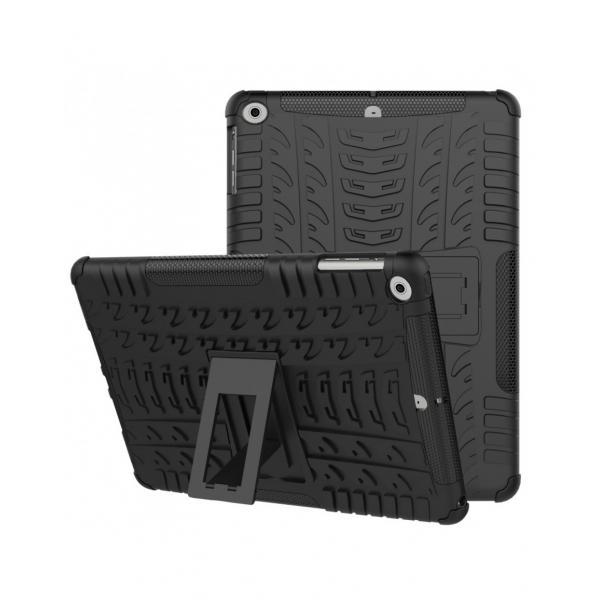 Carcasa protectie spate cu suport din plastic si gel TPU pentru iPad 9.7 inch (2017/2018), neagra [0]