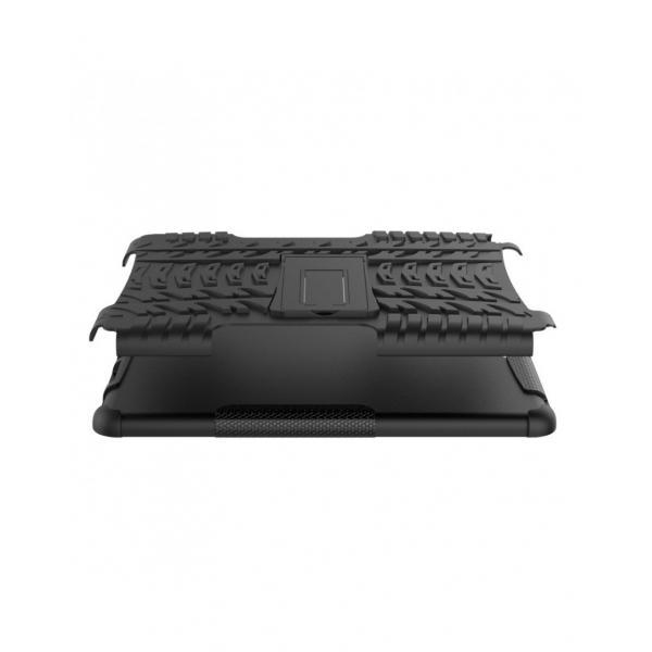 Carcasa protectie spate cu suport din plastic si gel TPU pentru iPad 9.7 inch (2017/2018), neagra 1