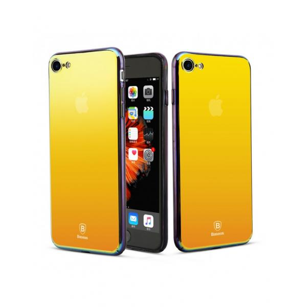 Carcasa protectie spate BASEUS din plastic cu suprafata oglinda pentru iPhone 7 Plus, gold 1