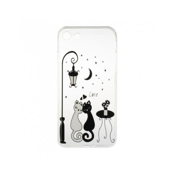 "Carcasa protectie spate CS din gel TPU imprimata ""Sweet Cat Lovers"" pentru iPhone 7 / iPhone 8 0"