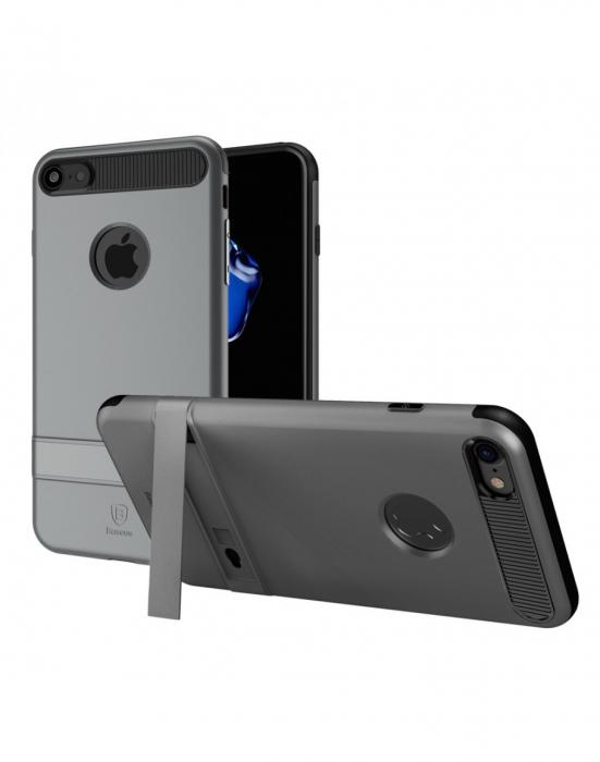 Carcasa protectie spate BASEUS din plastic si gel TPU cu suport pentru iPhone 7 Plus 5.5 inch, gri 0