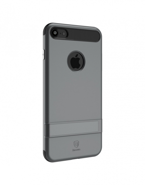 Carcasa protectie spate BASEUS din plastic si gel TPU cu suport pentru iPhone 7 Plus 5.5 inch, gri 1