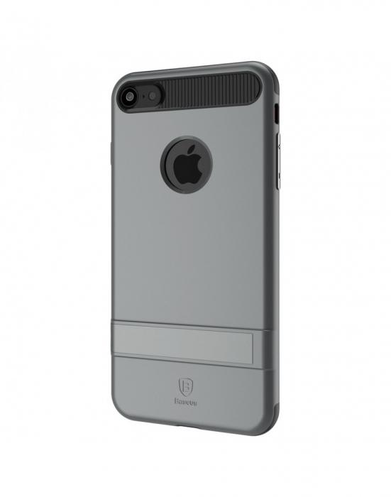 Carcasa protectie spate BASEUS din plastic si gel TPU cu suport pentru iPhone 7 Plus 5.5 inch, gri 2