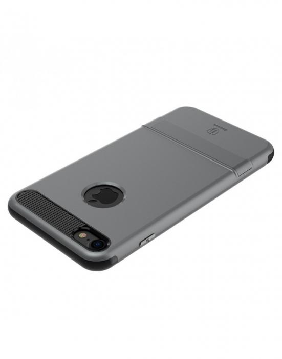 Carcasa protectie spate BASEUS din plastic si gel TPU cu suport pentru iPhone 7 Plus 5.5 inch, gri 4