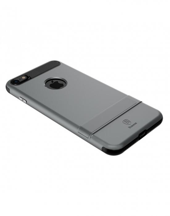 Carcasa protectie spate BASEUS din plastic si gel TPU cu suport pentru iPhone 7 Plus 5.5 inch, gri 5