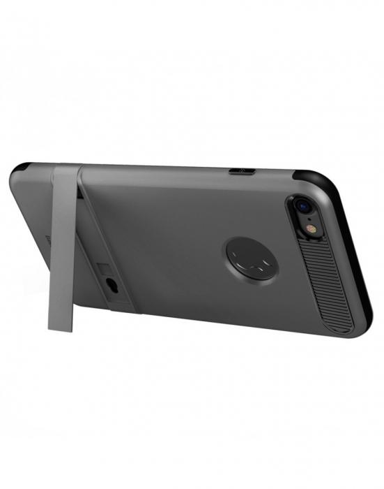 Carcasa protectie spate BASEUS din plastic si gel TPU cu suport pentru iPhone 7 Plus 5.5 inch, gri 6