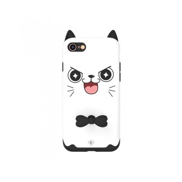 "Carcasa protectie spate KINGXBAR imprimata ""Pisica"" pentru iPhone 7 / iPhone 8, alba 0"