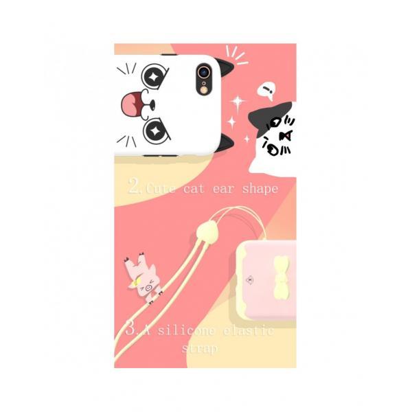 "Carcasa protectie spate KINGXBAR imprimata ""Pisica"" pentru iPhone 7 / iPhone 8, alba 1"