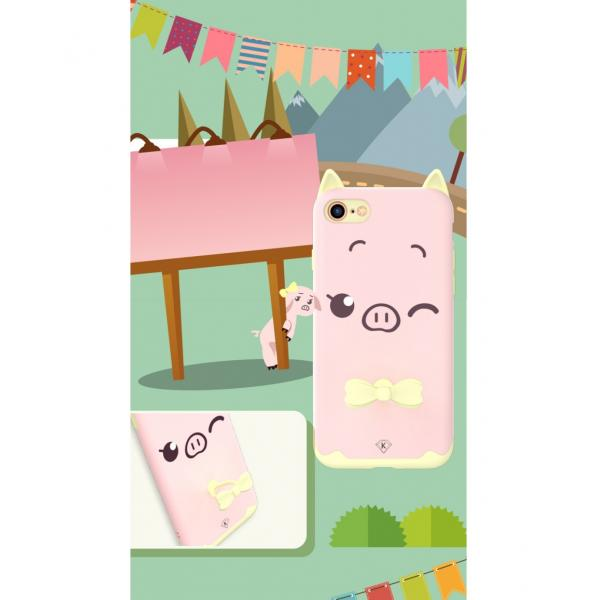 Carcasa protectie spate KINGXBAR imprimata pentru iPhone 7, iPhone 8, roz 2