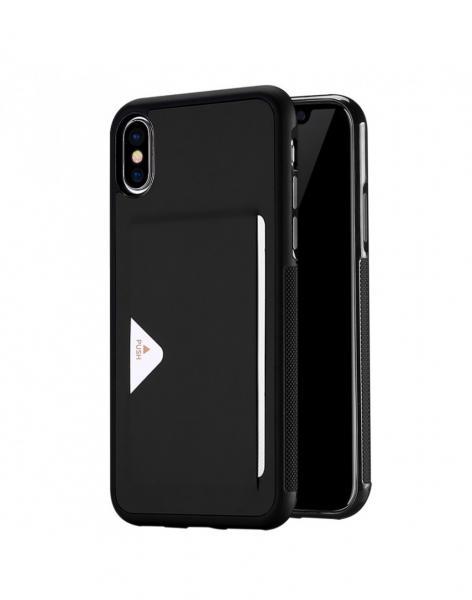 Carcasa protectie spate cu suport de card pentru Iphone X 5.8 inch, neagra 0