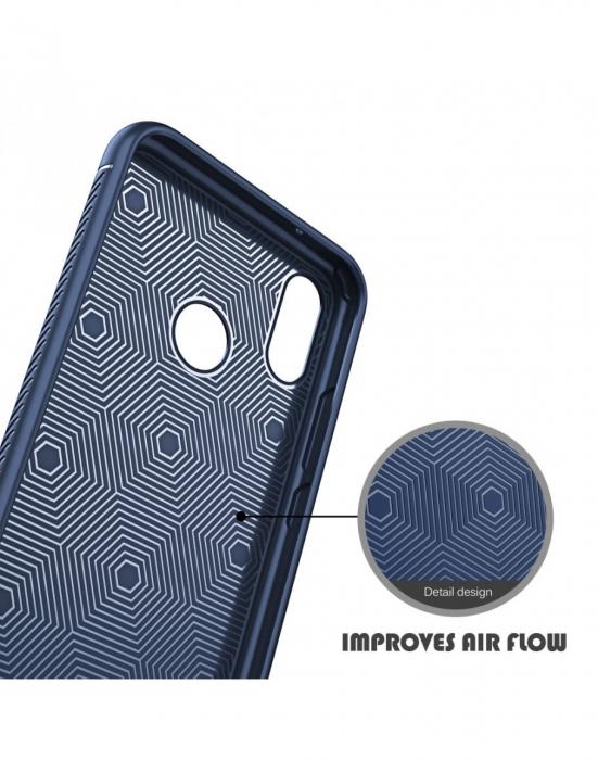 Carcasa protectie spate din piele ecologica si gel TPU pentru Huawei P20 Lite 3