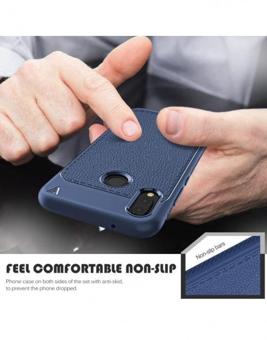 Carcasa protectie spate din piele ecologica si gel TPU pentru Huawei P20 Lite 2
