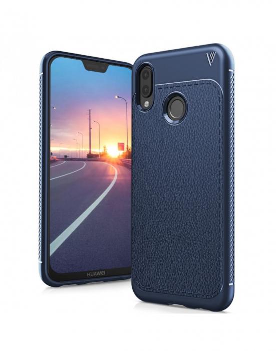 Carcasa protectie spate din piele ecologica si gel TPU pentru Huawei P20 Lite 0