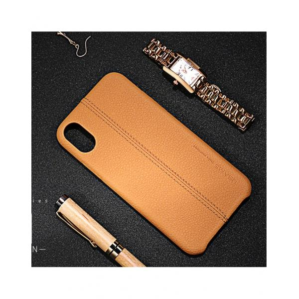 Carcasa protectie spate din piele ecologica si plastic pentru iPhone X 5.8 inch - amiplus.ro 0
