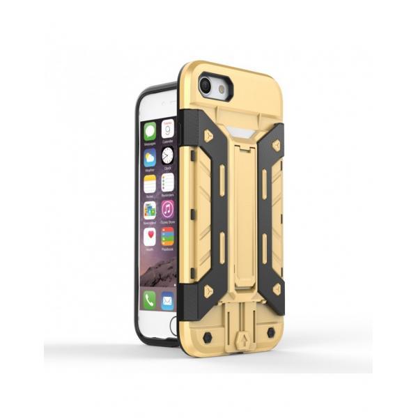 Carcasa protectie spate din plastic si gel TPU cu suport pentru card pentru iPhone 7 4.7 inch, gold [0]