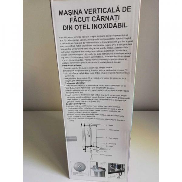 Aparat de umplut carnati vertical, inox, 5.5kg, 6 palnii incluse 11