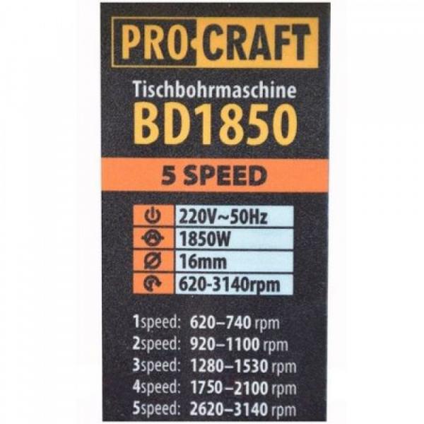 Masina de gaurit de banc fixa Procraft BD1850 1850W, 16mm, 5 viteze [2]