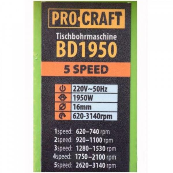 Masina de gaurit de banc Procraft BD1950 1950W, 16mm, 5 viteze 2