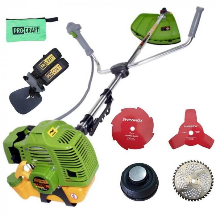 Motocositoare pe benzina, ProCraft T4200, 5.7 CP, 4200 W, 9000 RPM, 12 accesorii incluse [5]