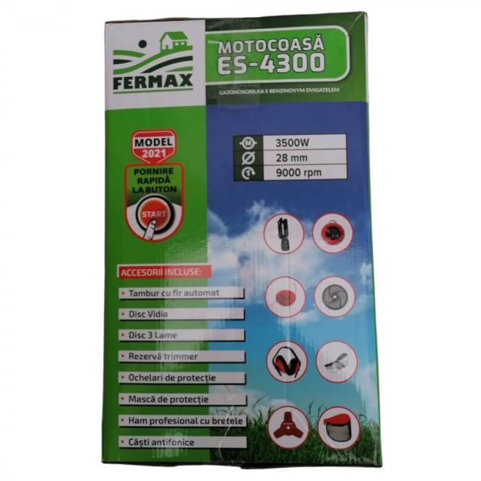 Motocositoare pe benzina Fermax ES-4300, cu pornire electrica si manuala, 4.7 CP, 9000 rpm, 8 accesorii incluse [8]
