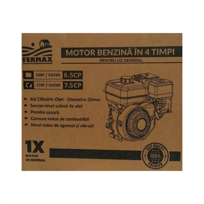 Motor benzina uz general, FERMAX, GX160, 6.5CP, ax cilindric 20mm [5]