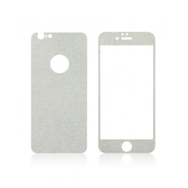 Pachet sticla securizata fata si sticker pentru spate cu sclipici pentru iPhone 6 Plus / 6s Plus 5.5 inch 2